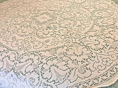"""Quaker Lace Floral Table Cloth Round About 62"""" Creamy White Vtg. Cutter ML19"""