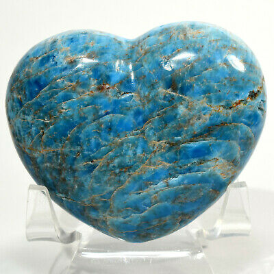 "2.5"" Blue Apatite Heart Natural Sparkling Mineral Quartz Crystal - Madagascar"