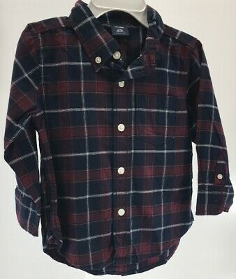 Baby Gap Baby Boys L/S Plaid Button Up Polo Shirt Navy Blue Size 18-24M NWT #