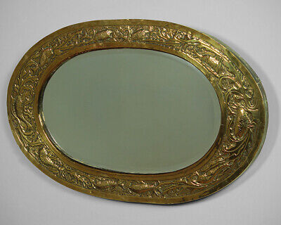 Antique Newlyn Style Arts & Crafts Repoussé Brass Mirror c.1900.