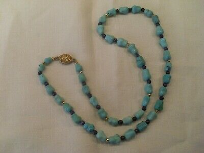 Vintage Chinese Turquoise Nugget Necklace, Lapis Lazuli Spacers, Silver Clasp