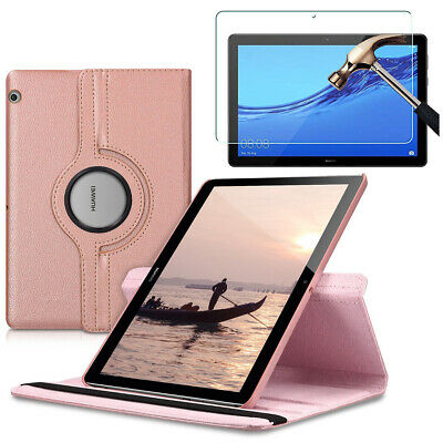 """Huawei MediaPad T5 10(10.1"""") PU Leather Tablet Stand Case Cover & Tempered Glass"""