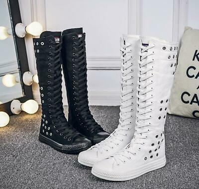 Womens Girls Lace Up Canvas Knee High Trainers Boots Punk Rock Dance Shoes New