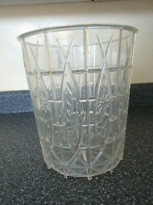Vintage 50's Mid Century Clear Lucite Plastic Bathroom Trash Can Waste Basket