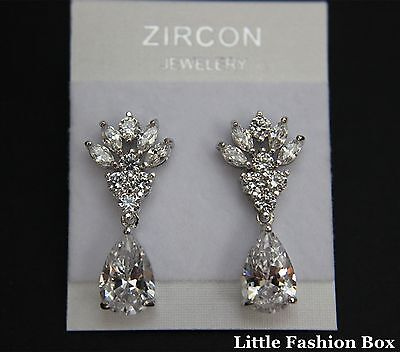 Superior Cut Small Cubic Zirconia Drop Prom Party Wedding Earring UK New