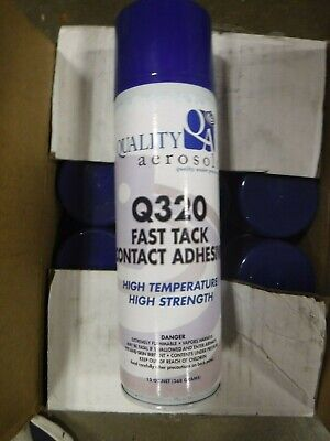 (Box Of 12) Quality Aerosol Q320 Fast Tack Contact Adhesive 13 oz. Spray Cans