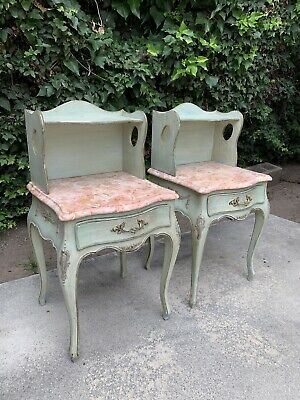 A Pair of Antique Italian Nightstands With Rose Color Marble Tops