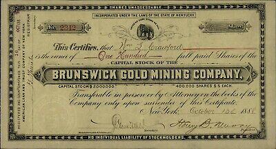 BRUNSWICK GOLD MINING CO STOCK CERTIFICATE 1888 Grass Valley Mines 100 Shares