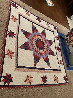 "Beautiful Vintage Large Hand Quilted Lone Star Quilt  88 1/2"" X 96"""