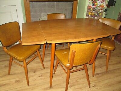 Vintage 1950's/ 60's Drop-Leaf Dining Table & Chairs, Wood & Wood-Effect Formica