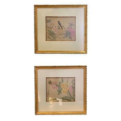 Early 20th-Century Oriental Hand Paintings on Silk With Gilded Frames