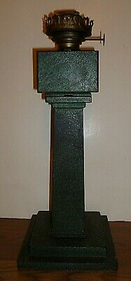 Tall Antique Cast Iron Mission Craftsman Era Style Table Oil Lamp