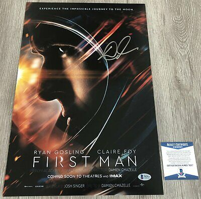 DAMIEN CHAZELLE SIGNED AUTOGRAPH FIRST MAN 12x18 PHOTO POSTER w/PROOF