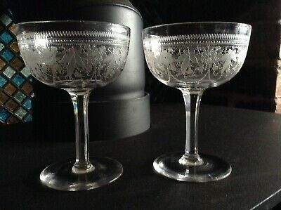 Edwardian floral etched glass champagne saucers excellent condition