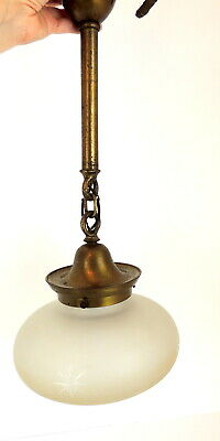 Antique VTG Hanging Globe Chandelier Light School House Brass Ceiling Mount 19.5
