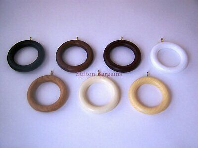 Solid Wooden Curtain Rings - 8 Colours, 4 Sizes - real wood curtain pole rings