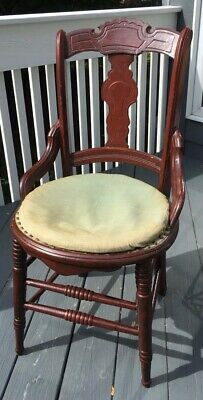 Antique 19th Century Victorian Carved Wood Parlor Accent Chair Sturdy DIY