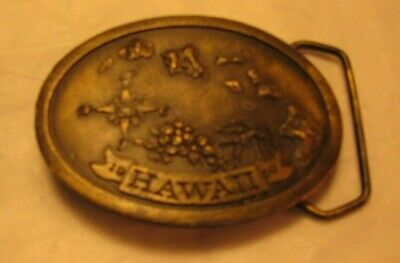 "Vintage 1977 Indiana Metal Craft ""Hawaii 1959"" Oval Brass Plated belt buckle"