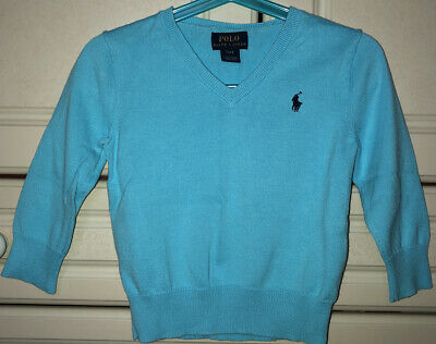 Polo Ralph Lauren Boys V Neck Jumper Age 2 Years Blue