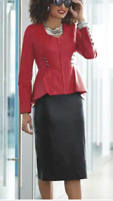 Ashro Red Black Formal Winter Faux Leather Kamana Skirt Suit Set 8 top/6 bot 16W