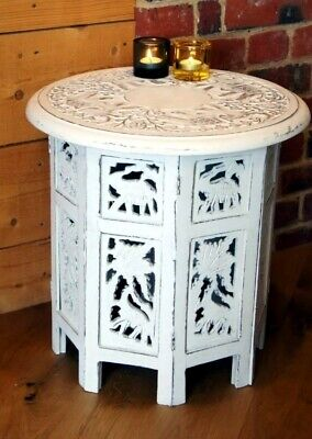 Octagonal Shabby Chic Side Table Elephants Hand Carved