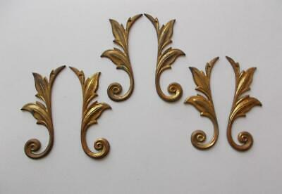 "6  Solid Cast Brass 4 1/4"" Art Deco Leaves for Bureau Mirror Wall Decoration"