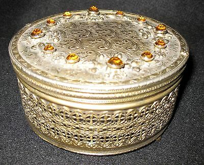 Vintage POWDER BOX Jeweled Filigree Embossed Brass Goldtone Deco Vanity Trinket