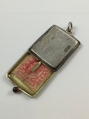 Vintage Silver Plated Sliding Chatelaine Stamp Case With Jewel