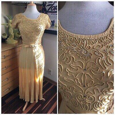 Vintage 1940s Dress Yellow Gold Embroidered S M Rockabilly Swing Pinup 40s TLC