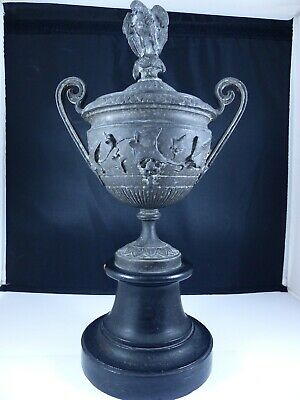 Antique Pewter Urn On Plinth With Handles And Griffin As Finial - Striking Piece