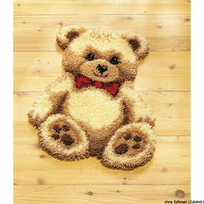 Vervaco Latch hook shaped carpet kit Brown bear with red bow, DIY