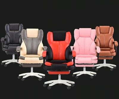 Office Chair Ergonomic For Computer Gaming Chair With Footrest Synthetic Leather