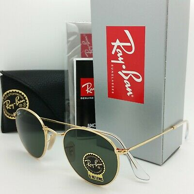 NEW Rayban Sunglasses RB3447 001 50mm Metal Round Gold Classic Green G-15 3447