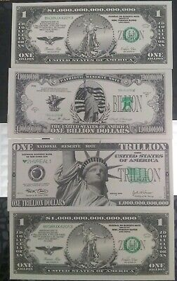 MILLION, BILLION, TRILLION & Zillion dollar novelty bills