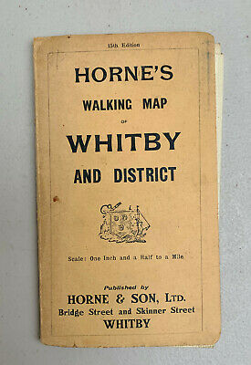 Vintage Horne's Walking Map of WHITBY & DISTRICT 15th Edition ~ Folding + Colour