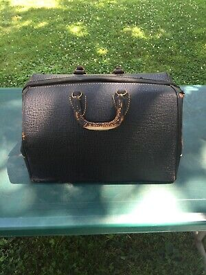 Antique Leather Doctor Bag Cowhide Split Crest NY Zipper Collectible Cloth Lined