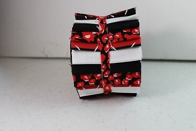 Jelly Roll 2.5 inch strips 20  per pk Cotton Quilting Fabric, Red, Black,