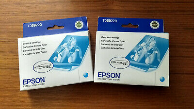 Lot 2 Genuine Epson T0592 Cyan Ultrachrome Ink Cartridge Stylus Photo R2400 New