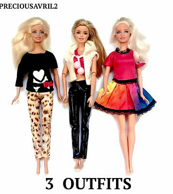 New barbie doll clothes clothing sets set of 3 outfits pants tops shoes dress