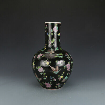 Chinese Old Marked Famille Rose Colored Flowers and Butterflies Porcelain Vase