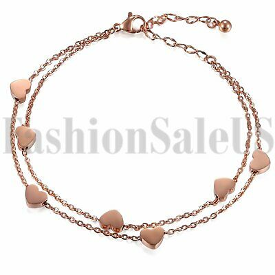 Fashion Women's Ladies Stainless Steel Charm Heart Dangle Chain Bracelet Bangle