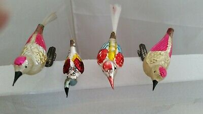 BEAUTIFUL Vintage Christmas GLASS BIRD CLIP ORNAMENTS. A Must See!