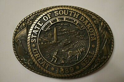 Vintage South Dakota Buckle TONY LAMA State SEAL Solid Brass First Edition