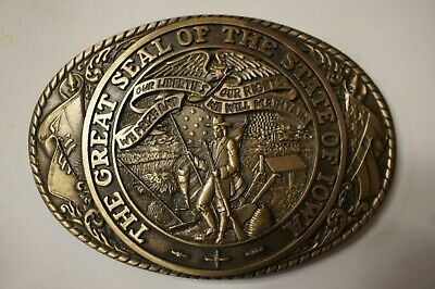 The Great Seal Of The State Of Iowa Tony Lama Brass Belt Buckle