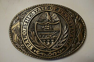 The Great Seal Of The State Of Pennsylvania Tony Lama Brass Belt Buckle