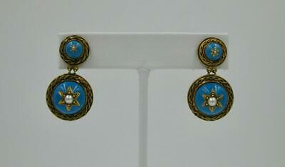 Victorian Turquoise Enamel Earrings Etruscan Revival Pearl 14K Gold