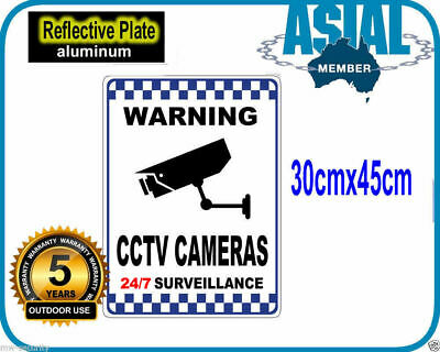 large 30x45cm Reflective Aluminium Metal CCTV Surveillance Camera Warning Sign