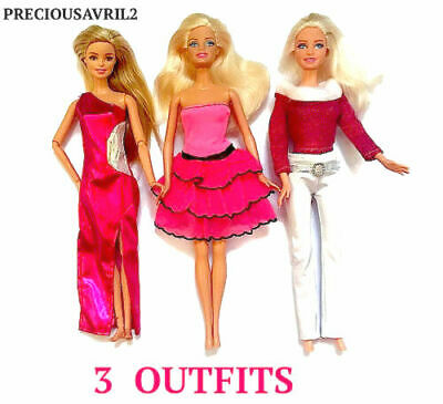 New barbie doll clothes clothing sets set of 3 outfits pants tops dresses