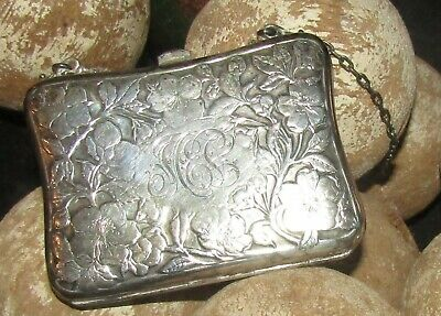 Antique Sterling Silver Ladies Purse Edwardian Art Nouveau Compact Chatelaine