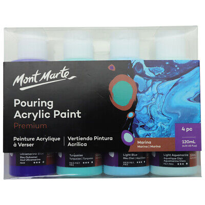 Mont Marte Pouring Acrylic 120ml 4pc - Marina for Fluid Art